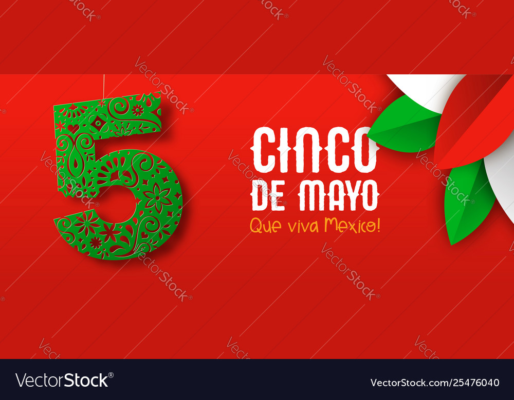 Mexican paper art banner for cinco de mayo holiday