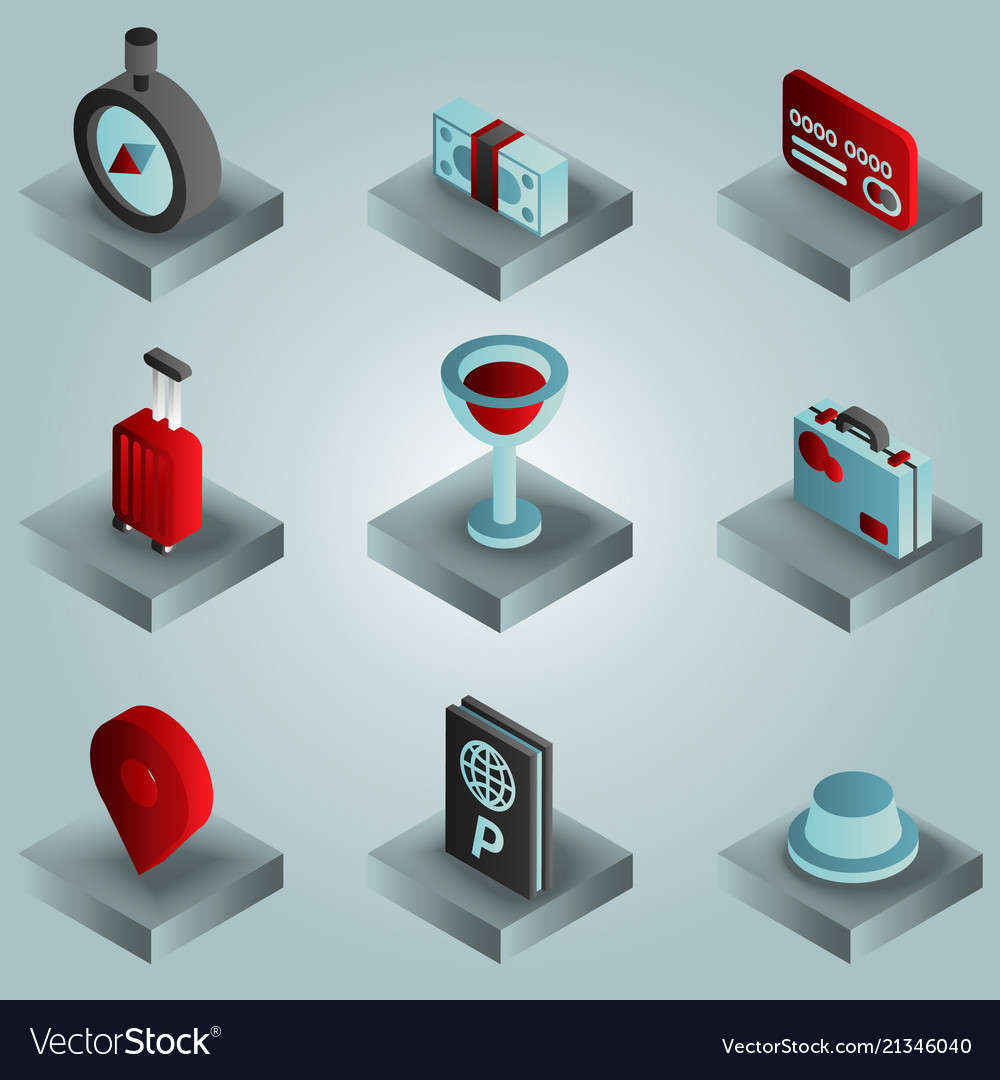 Traveling color gradient isometric icons