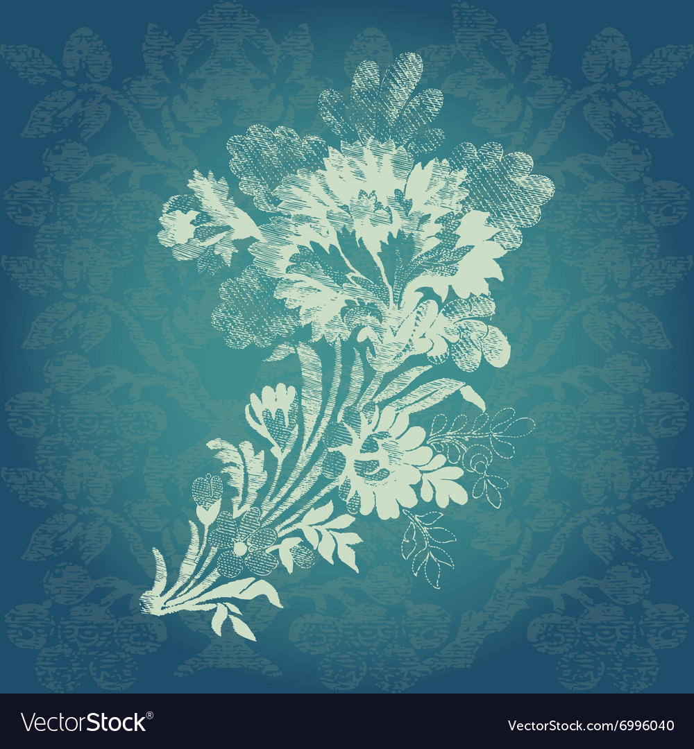 Vintage hand drawn luxury bouquet of flowers vector image