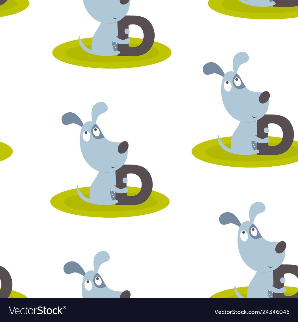Animal alphabet pattern with dog