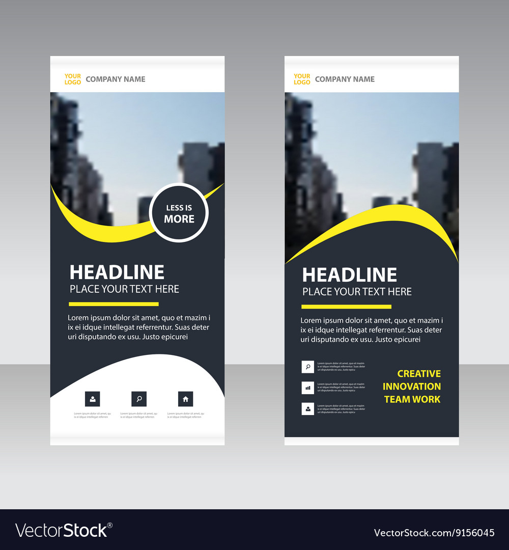 Black yellow Business Roll Up Banner template set