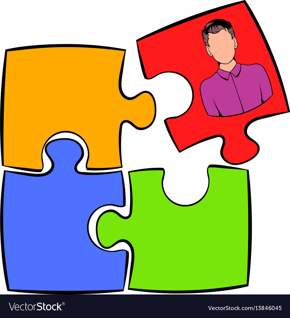 Businessman in a puzzle piece icon cartoon