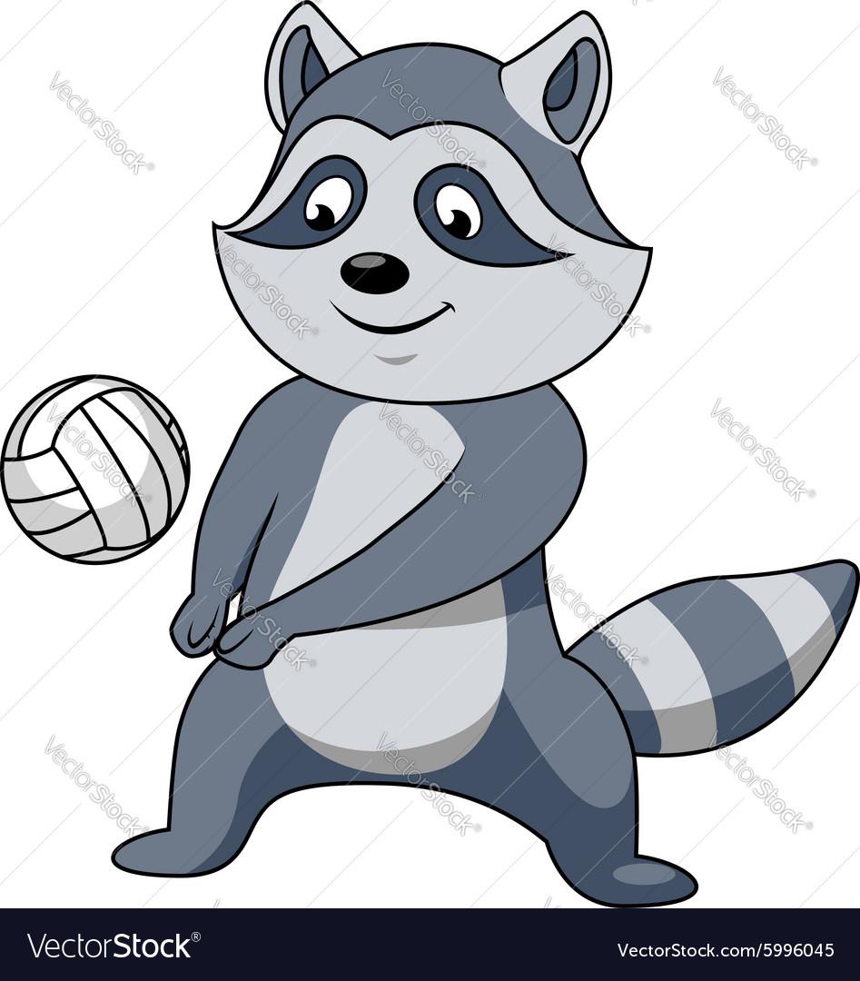 Cartoon raccoon with volleyball ball