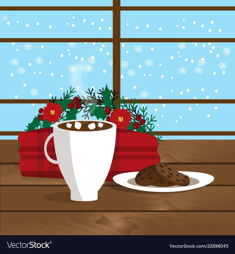 Christmas of mug with hot cocoa