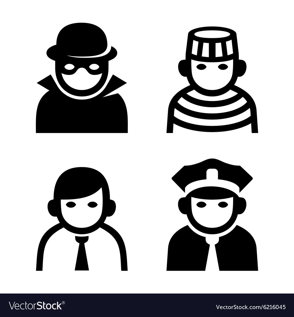 Criminal Police and Prison Userpic Icons Set