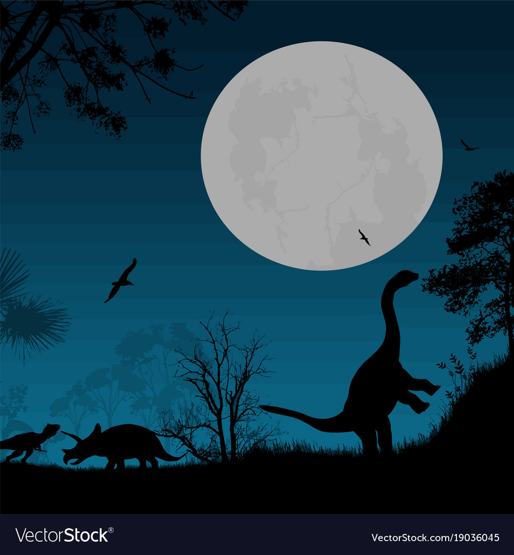 Dinosaurs silhouettes vector image