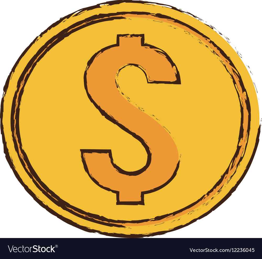 Drawing gold coin money dollar
