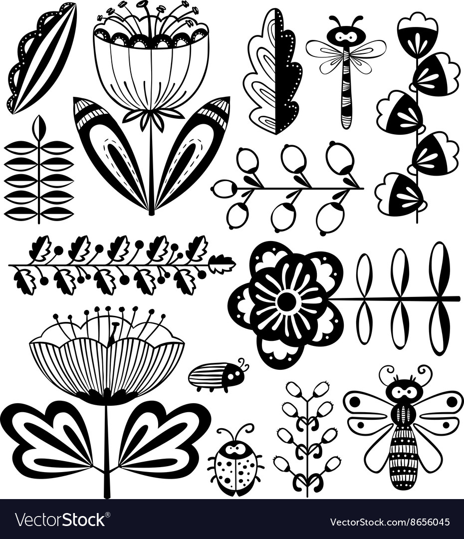 Floral decorative design elements set with bugs vector image