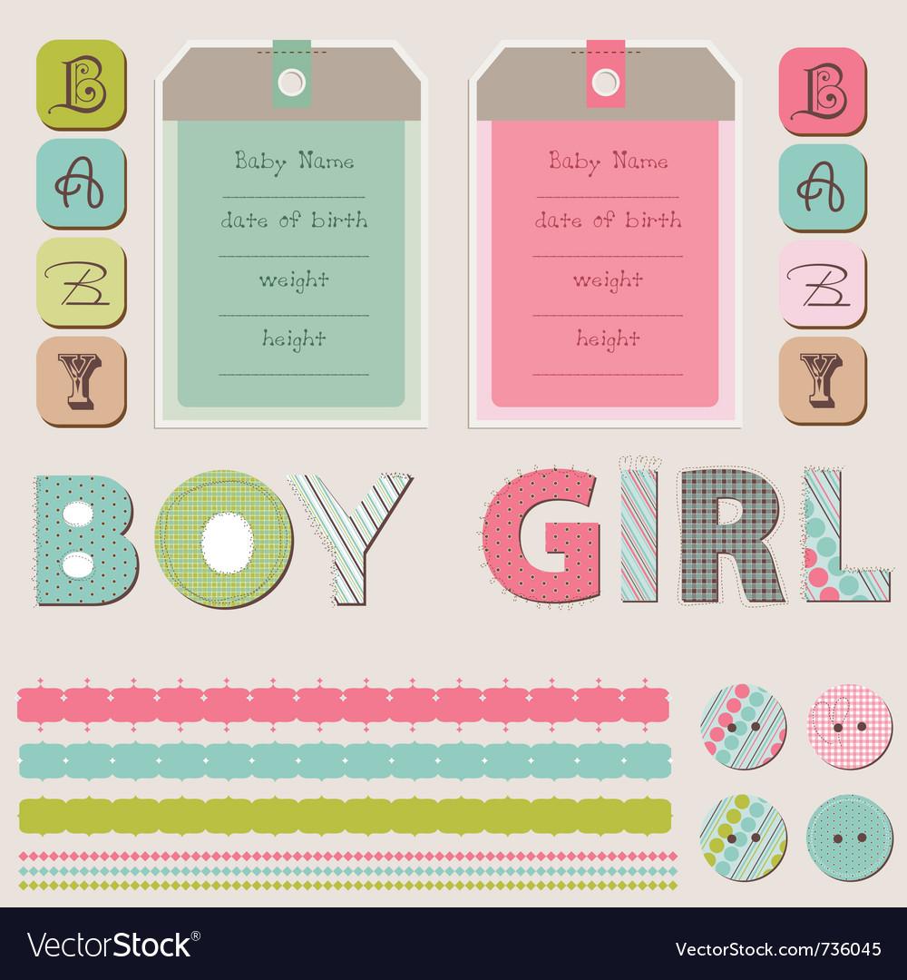 Scrapbook Baby Girl And Boy Set Royalty Free Vector Image