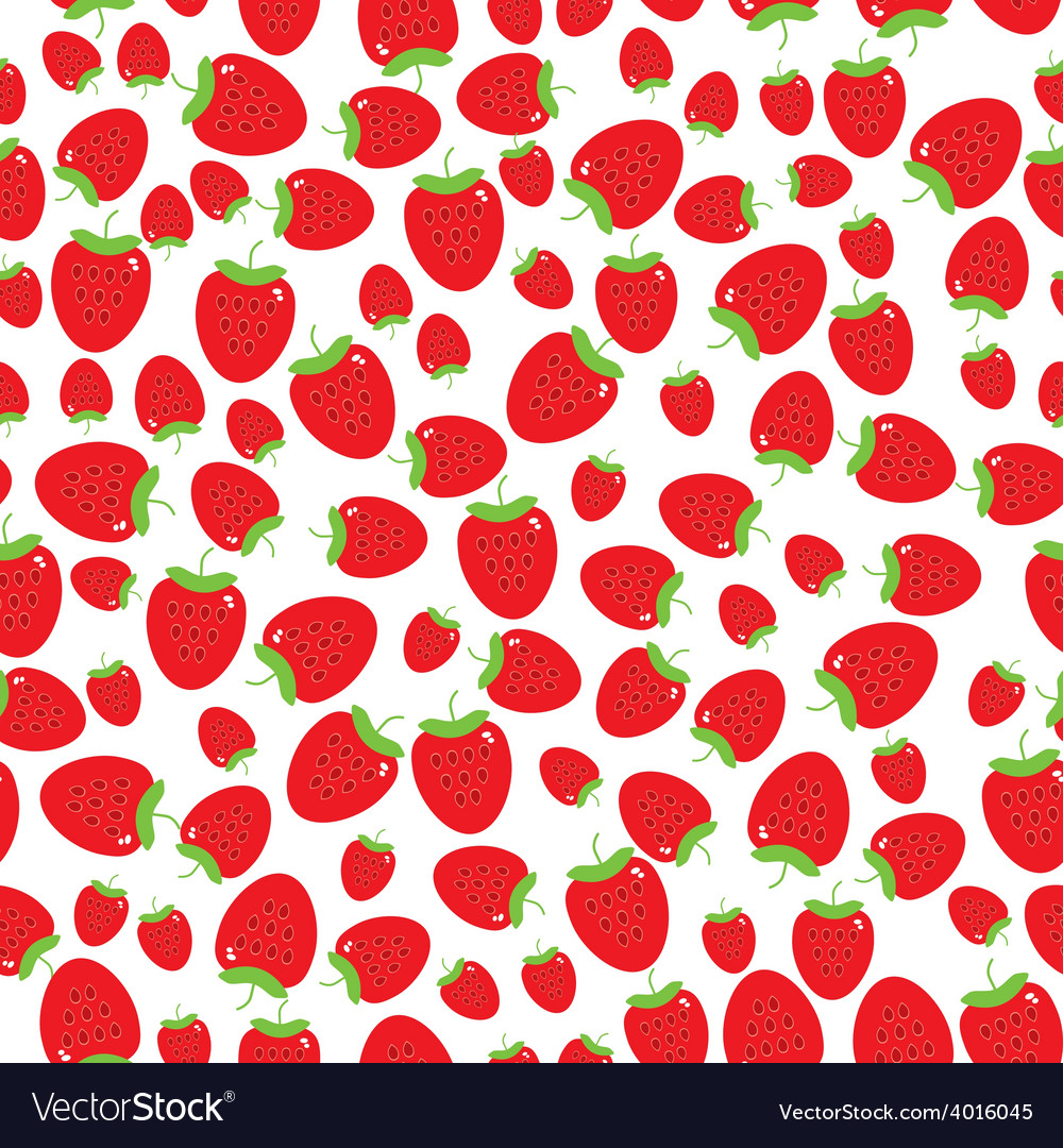 Seamless pattern with strawberries on the white vector image