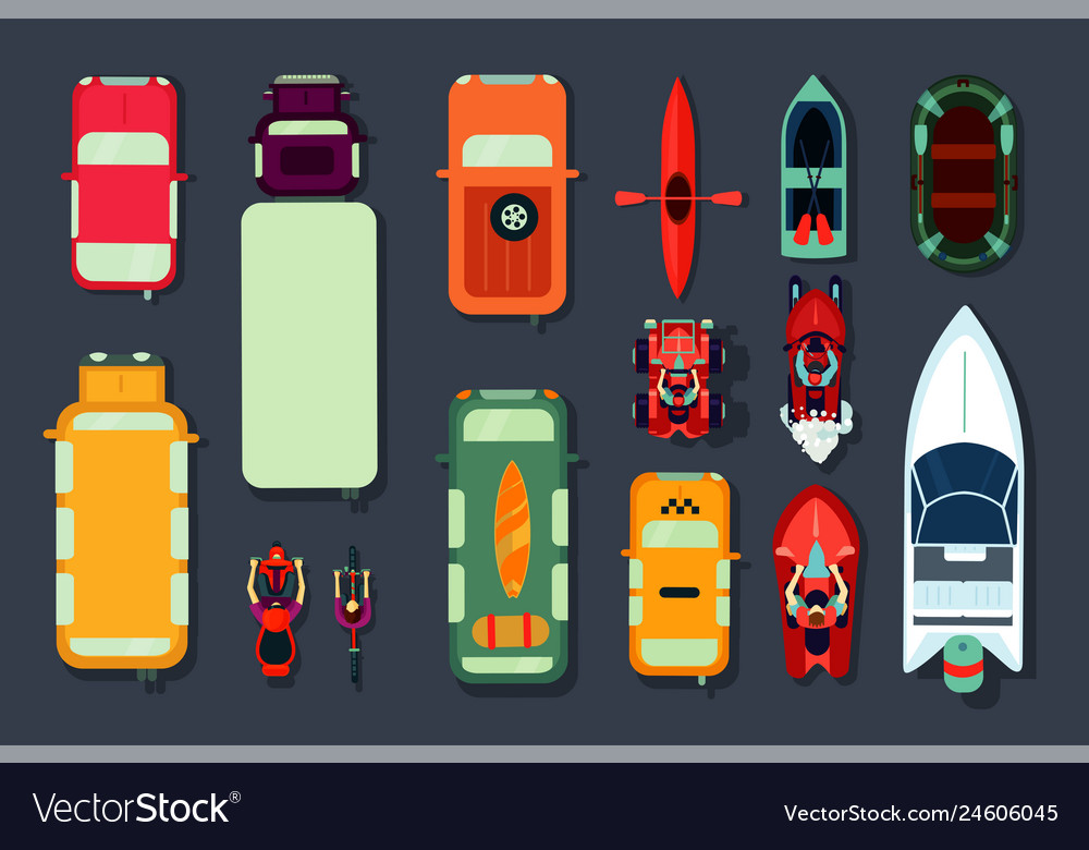 Transport icon set top view of cars bikes and