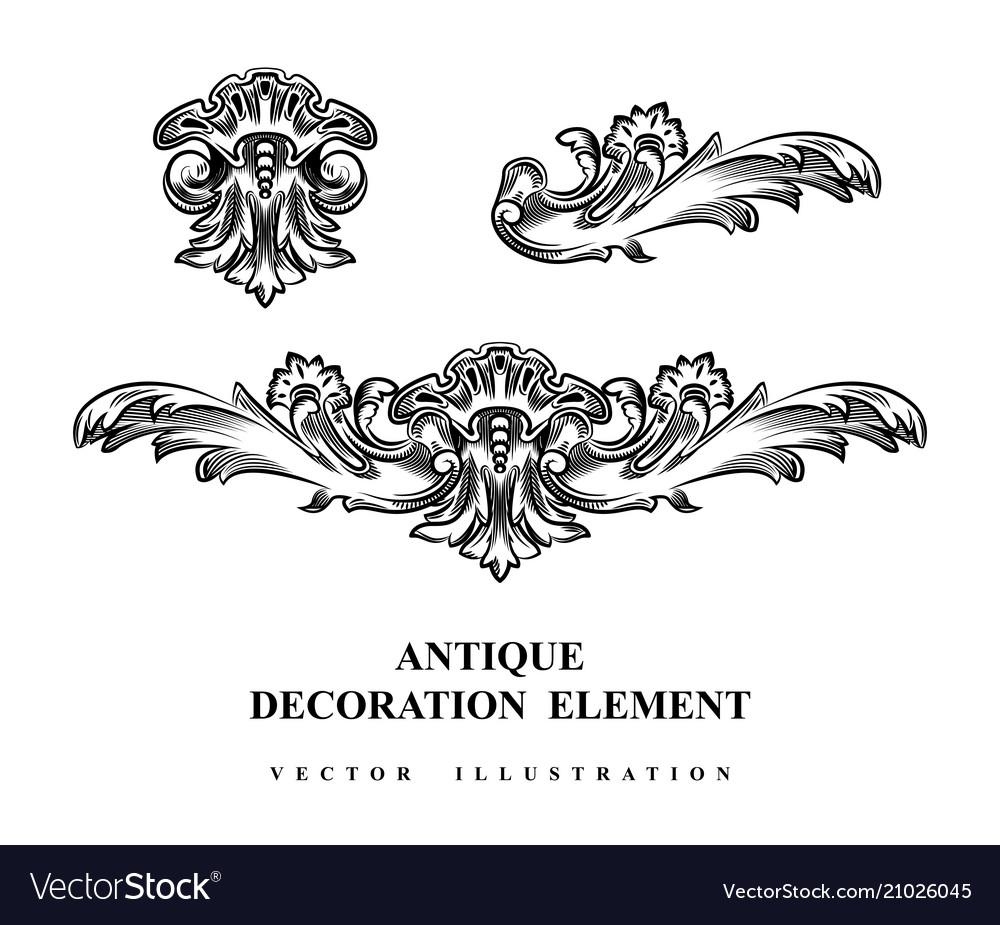Vintage architectural decoration elements for vector image