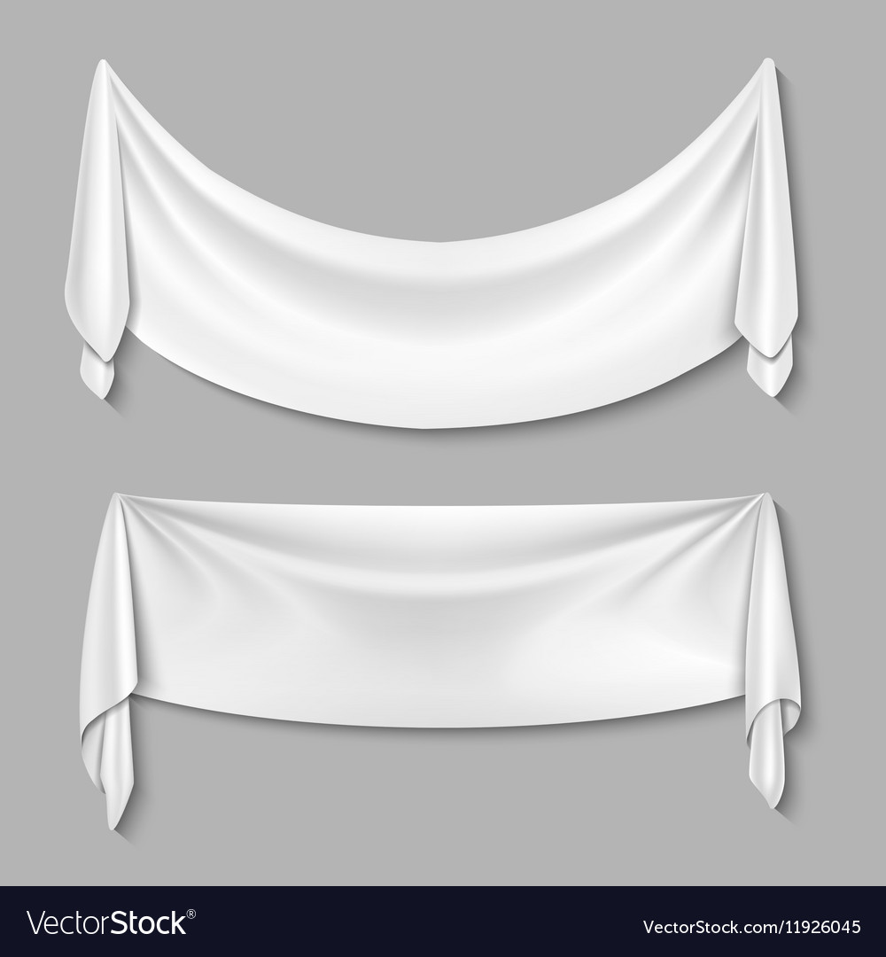 Wrinkled textile drape fabric empty white vector image