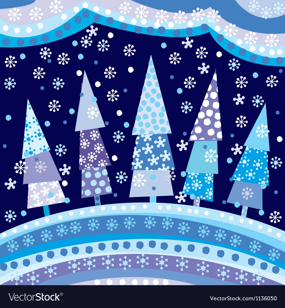 Background with Christmas trees and motifs under
