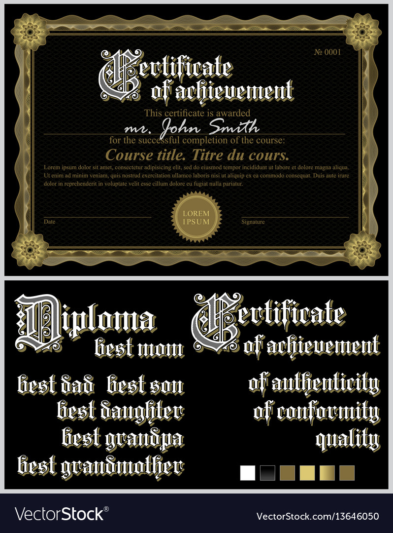 Black and gold certificate guillochetemplate