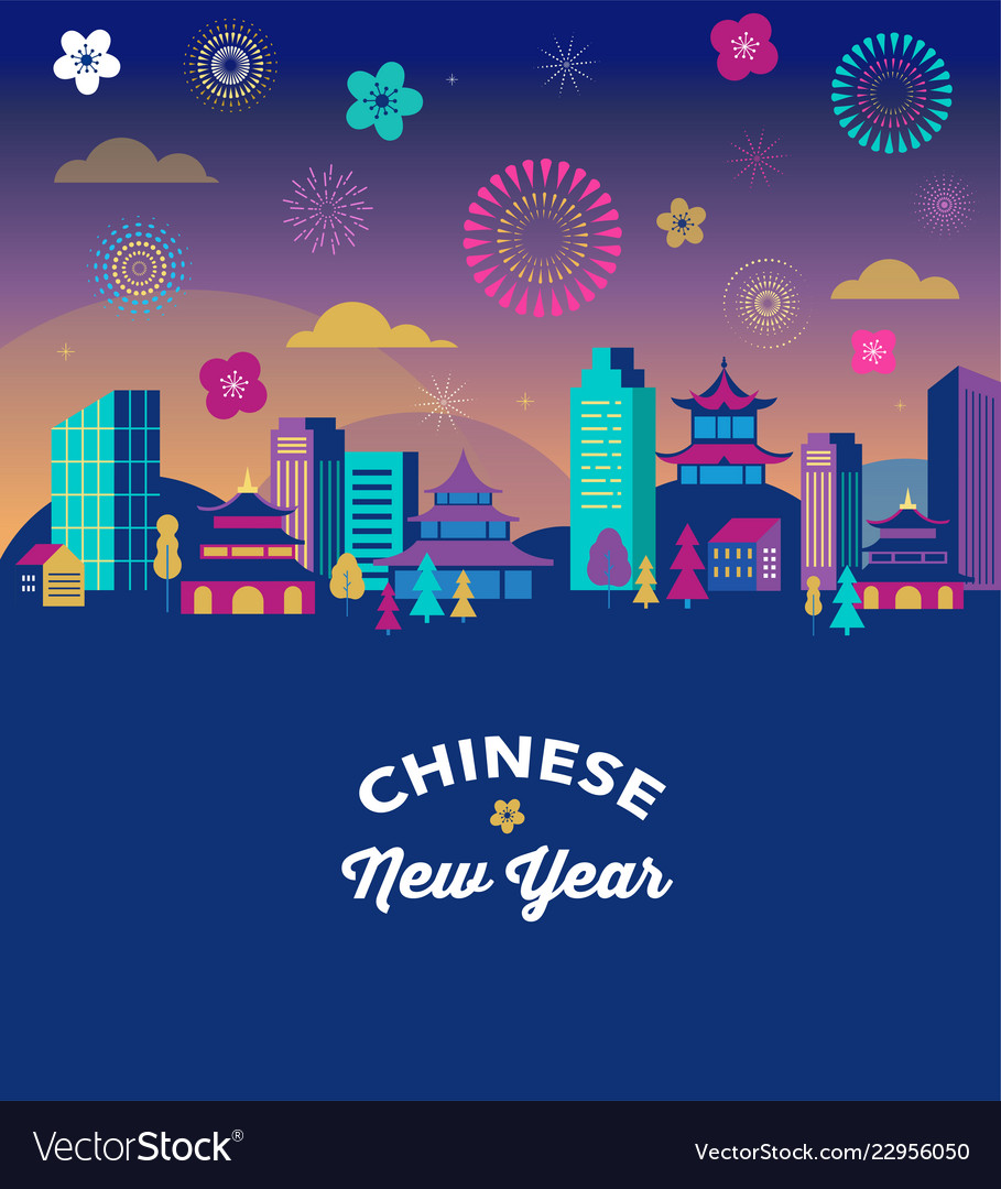 Chinese new year - city landscape with colorful