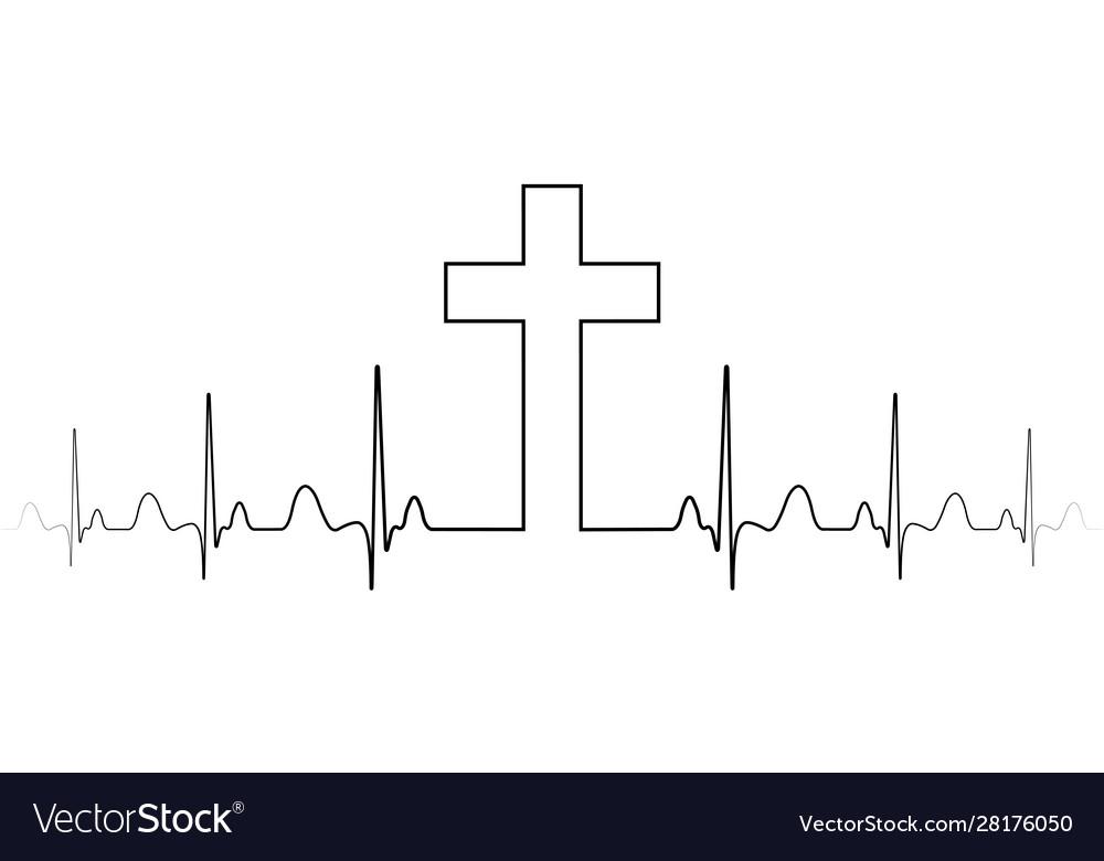 Cross mark symbol christian faith a single