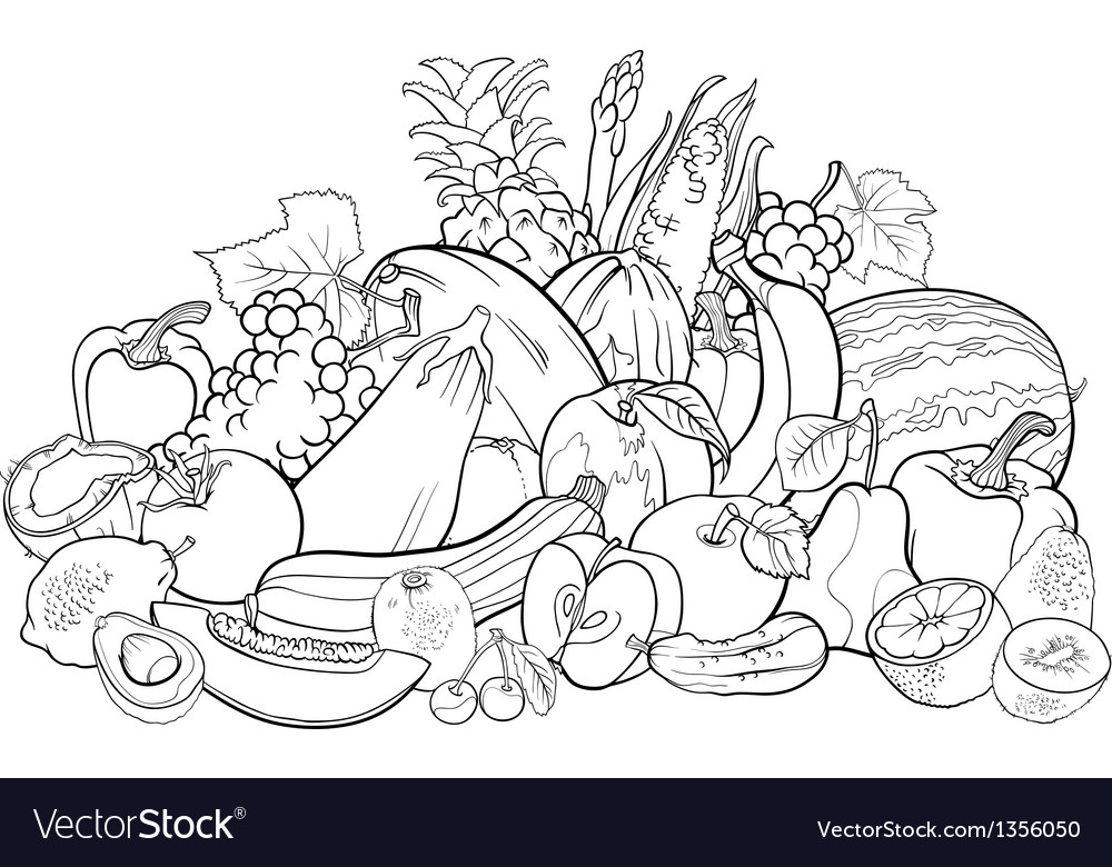- Fruits And Vegetables For Coloring Book Royalty Free Vector