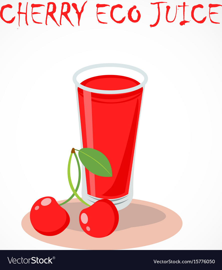 Glass Of Bio Fresh Cherry Juice Text Title Vector Image