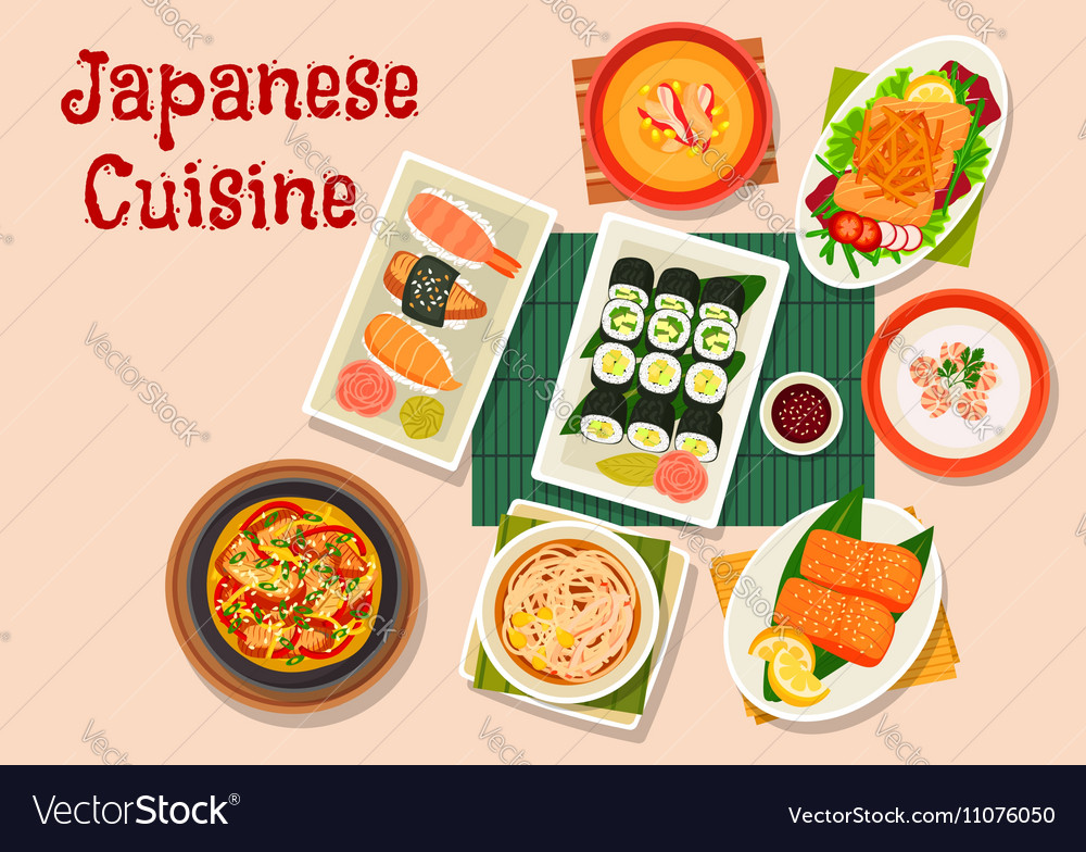 Japanese cuisine icon for seafood menu design vector image