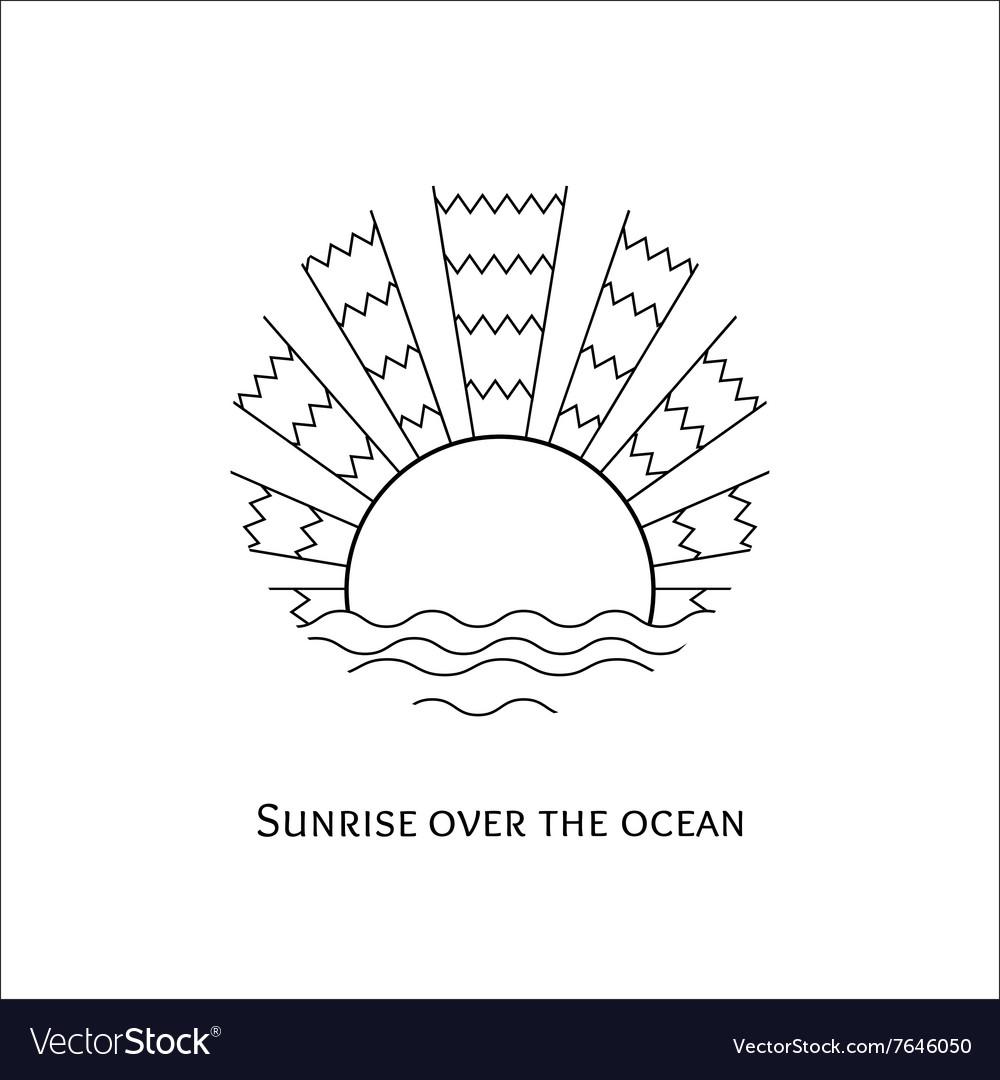 Line art of sunrise over the ocean