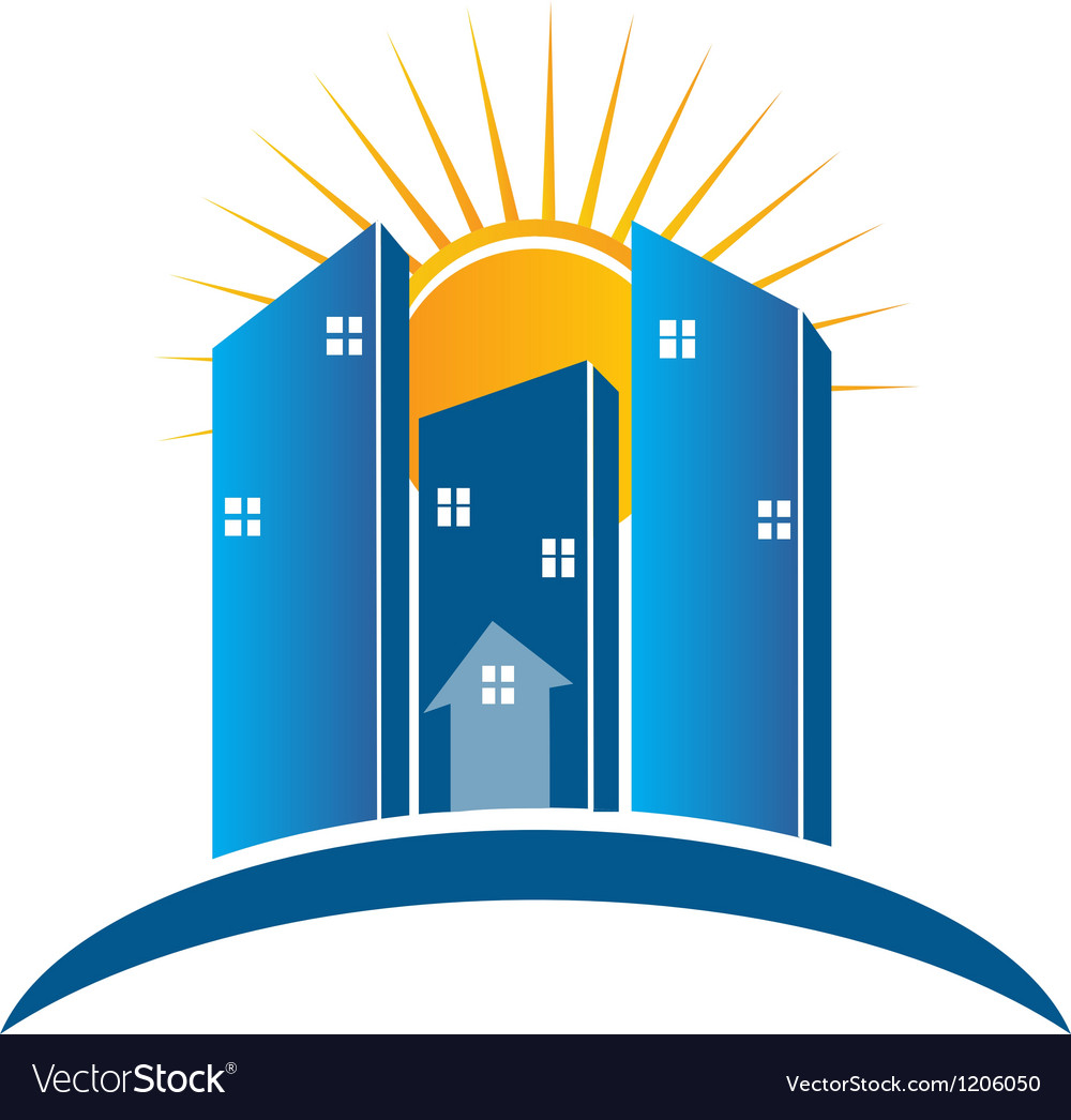 Modern Buildings with sun logo