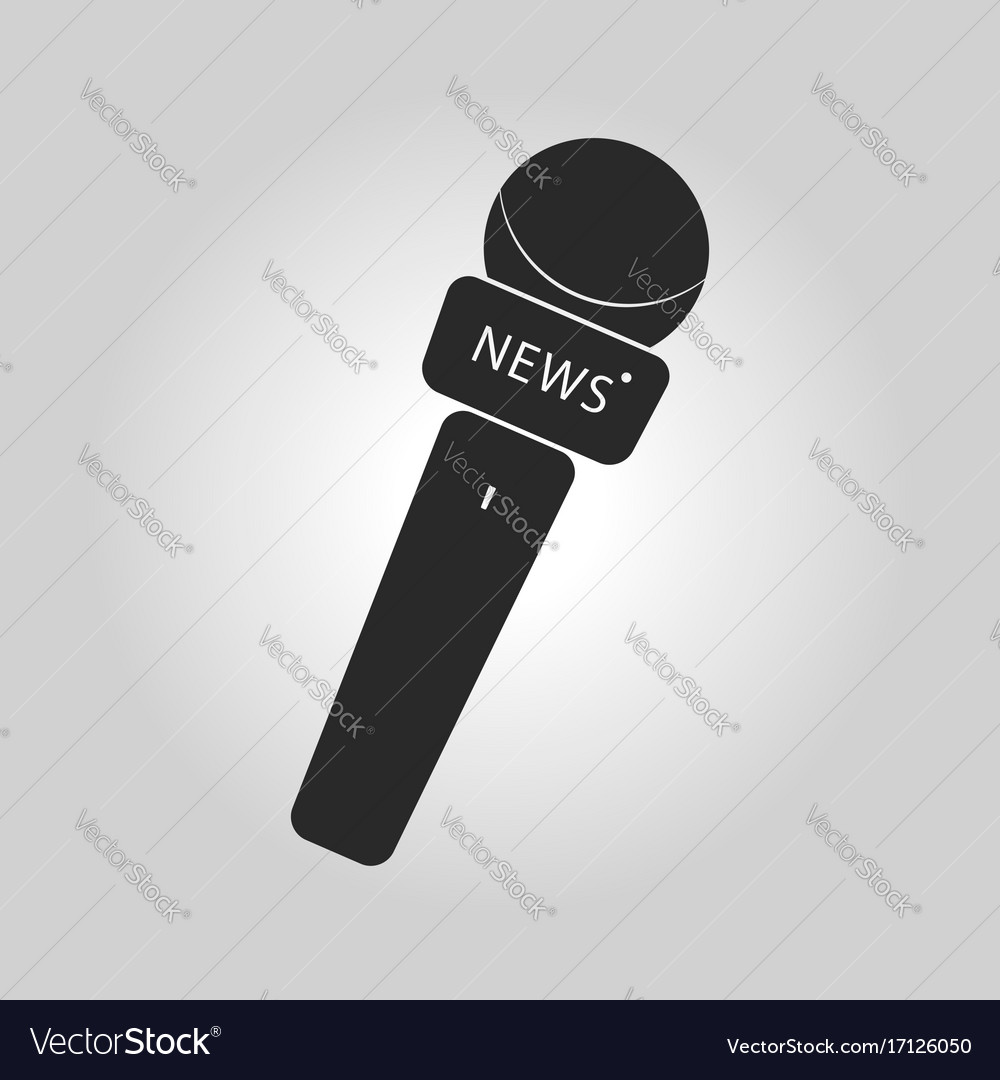 News microphone icon with simple button and vector image
