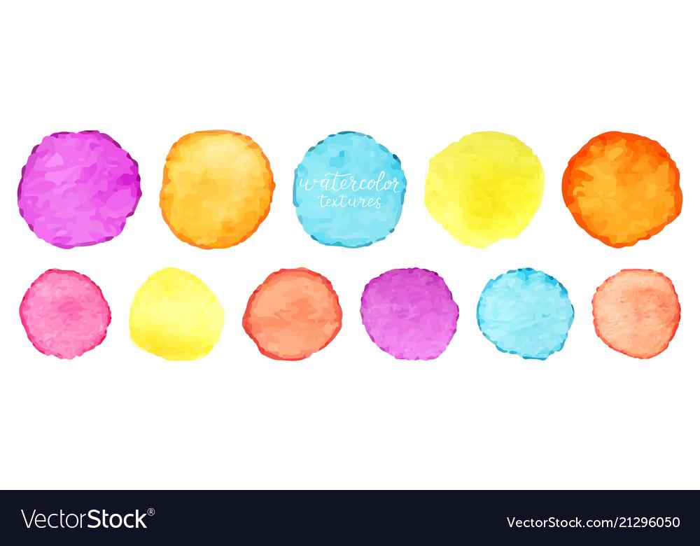 Rainbow watercolor circles set watercolour