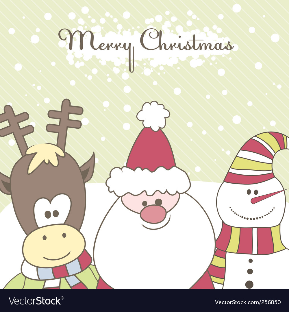 Santa reindeer snow man illustration