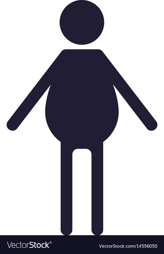 Silhouette people fat loss weight concept vector image