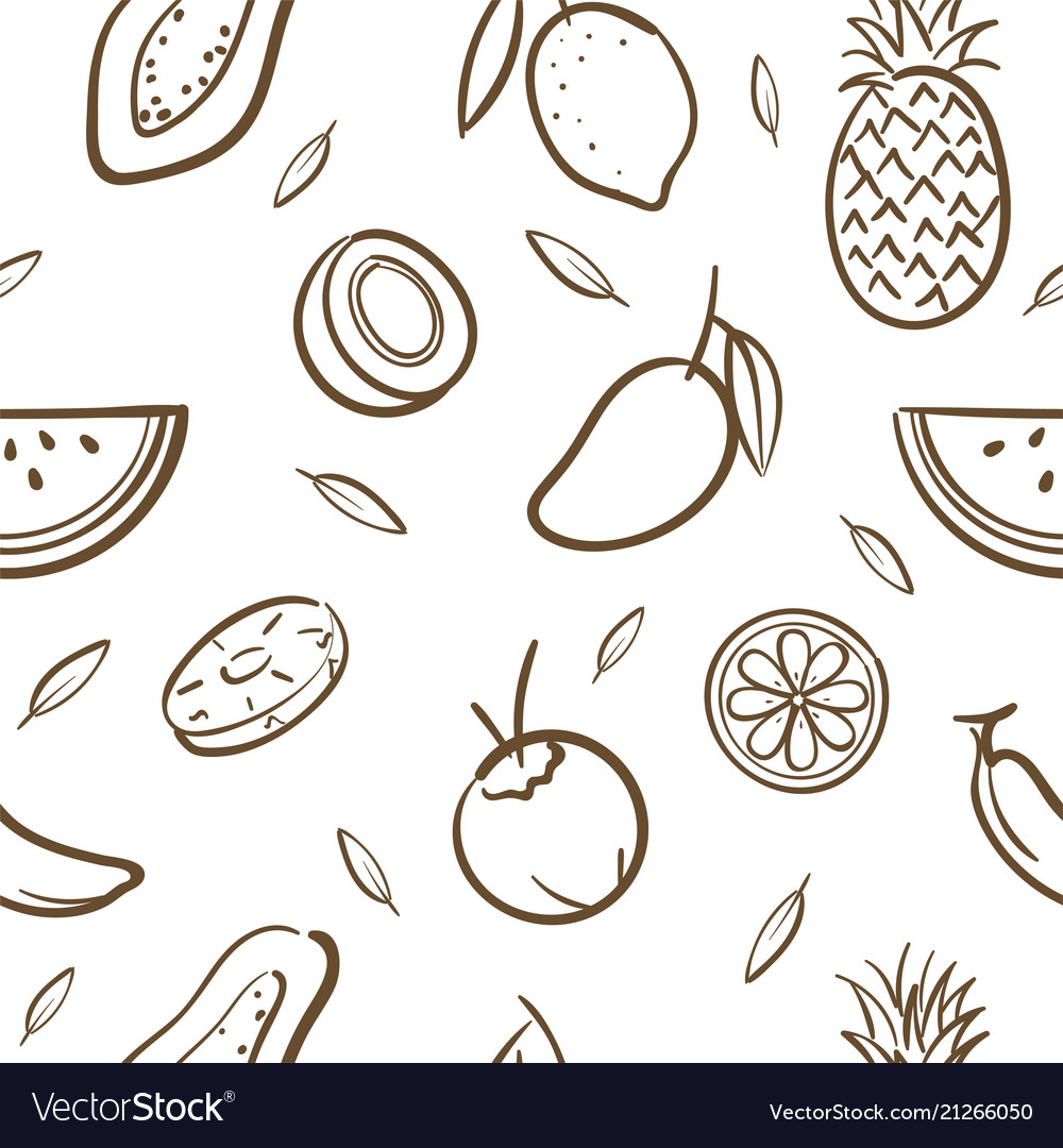 Sketch of mix tropical fruits seamless pattern
