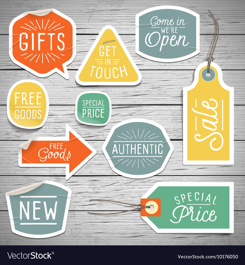 Slogans stickers for retail vector image