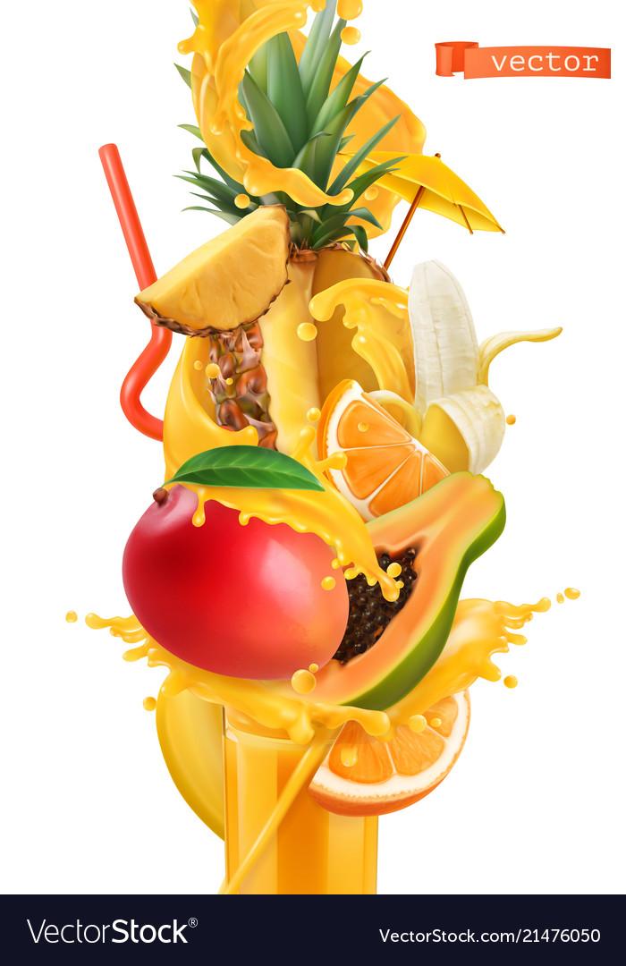 Splash Juice And Sweet Tropical Fruits Mango Vector Image