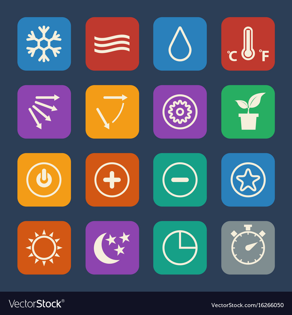 Symbol for air conditioning icons set flat design vector image