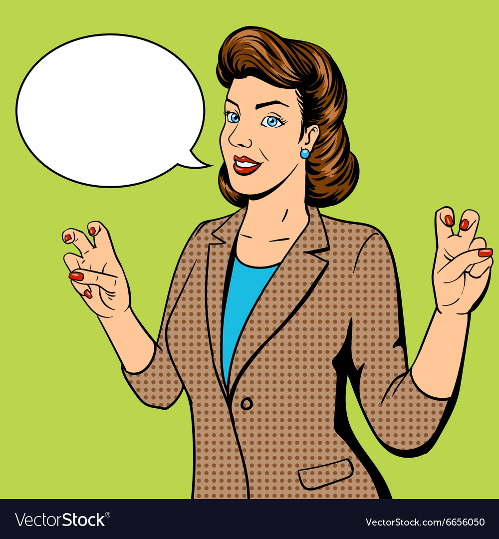 Woman shows quote gesture pop art vector image