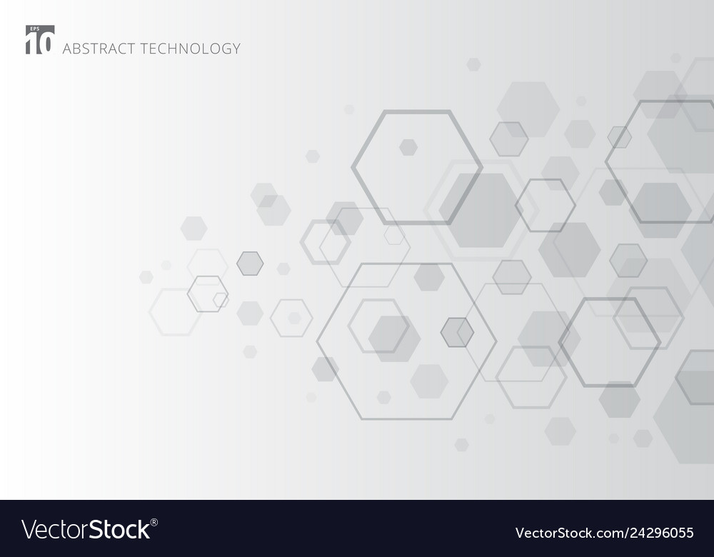 Abstract gray hexagon on white background