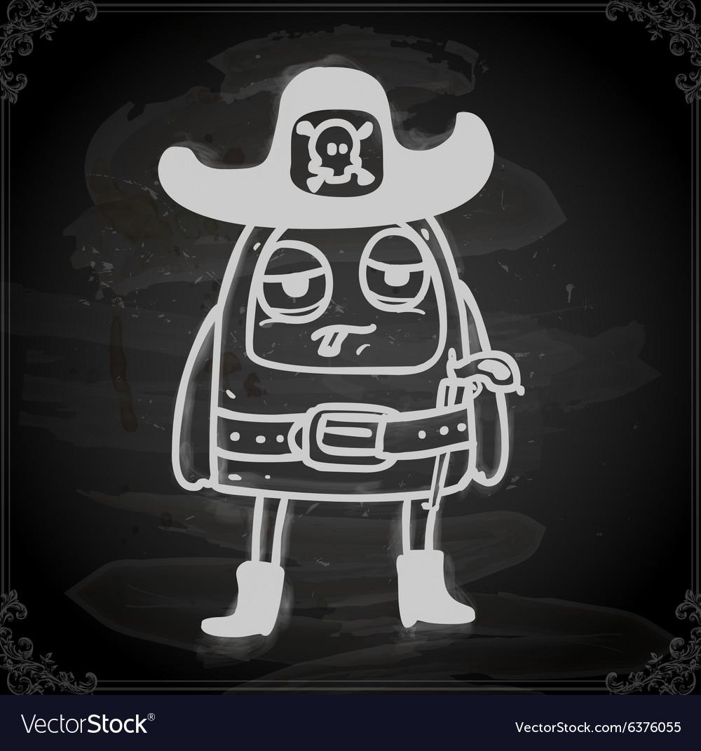 Alien in sheriffs costume drawing on chalk board