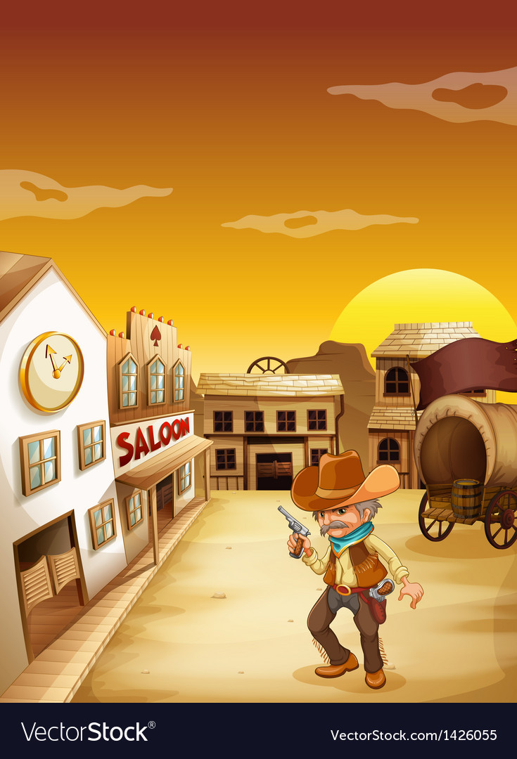 An old cowboy holding a gun outside the saloon vector image
