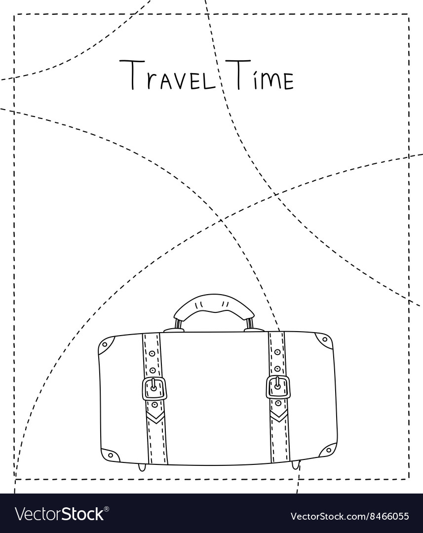 Black and white hand drawn suitcase banner