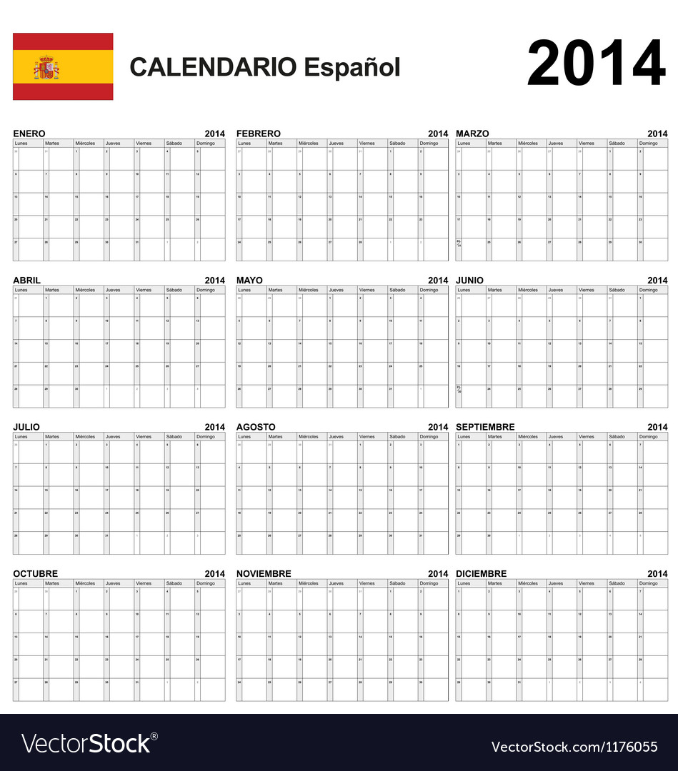 Calendar 2014 Spain Type 22 vector image