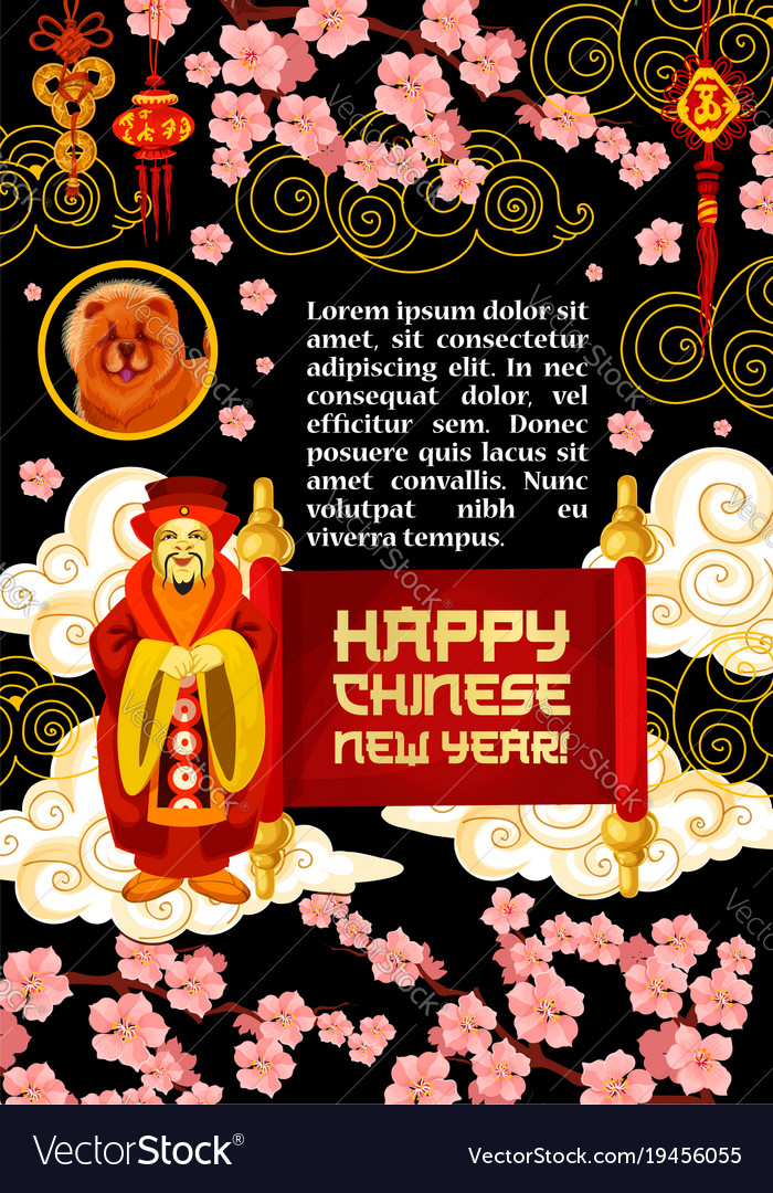 Chinese lunar new year greeting card design Vector Image