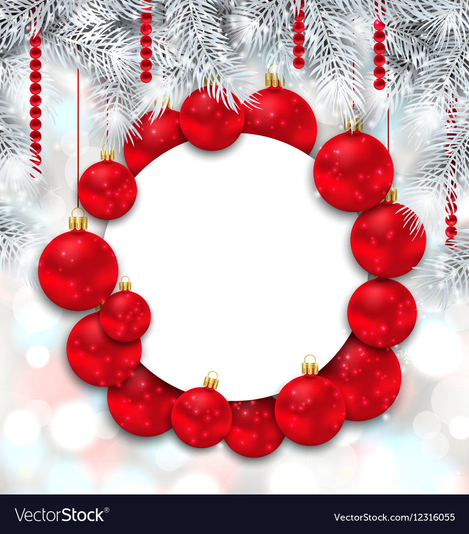 Christmas and Happy New Year Card with Red Balls
