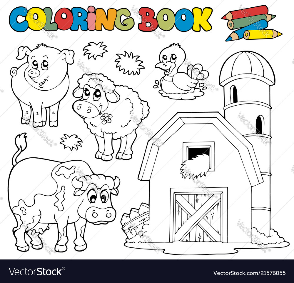 Coloring Book With Farm Animals 1 Royalty Free Vector Image