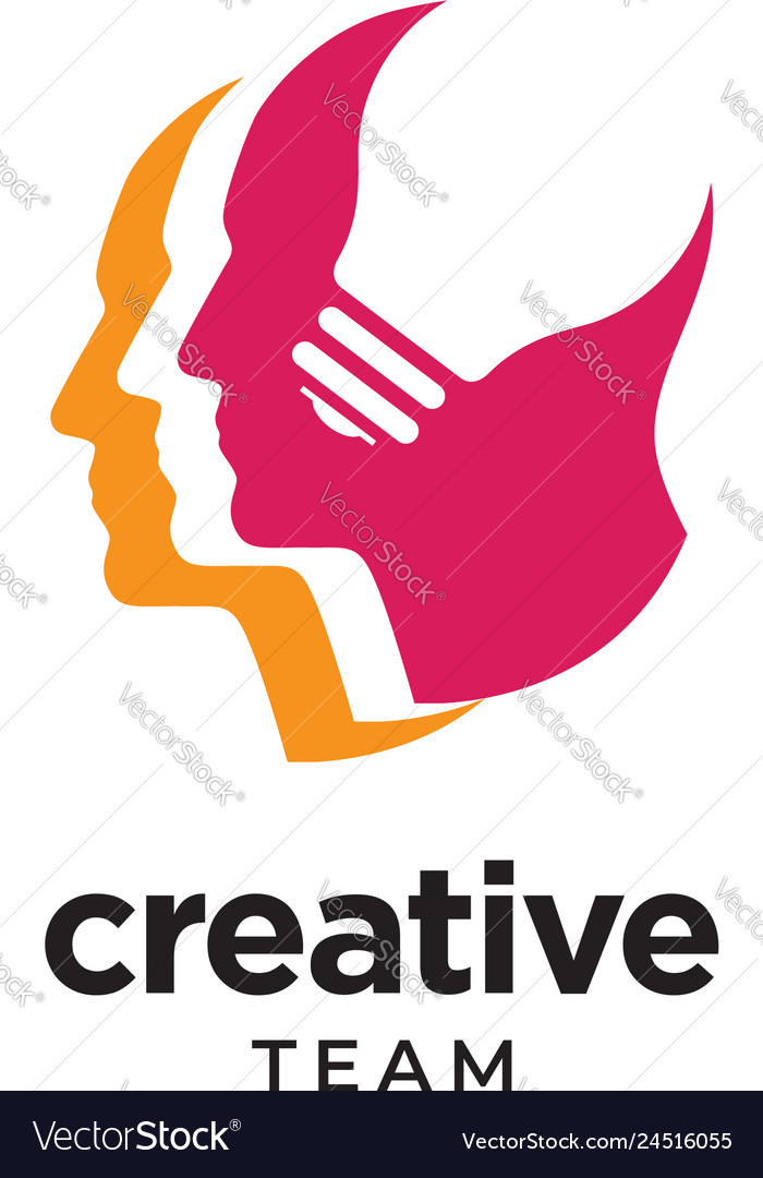 Digital abstract human head logo for creative