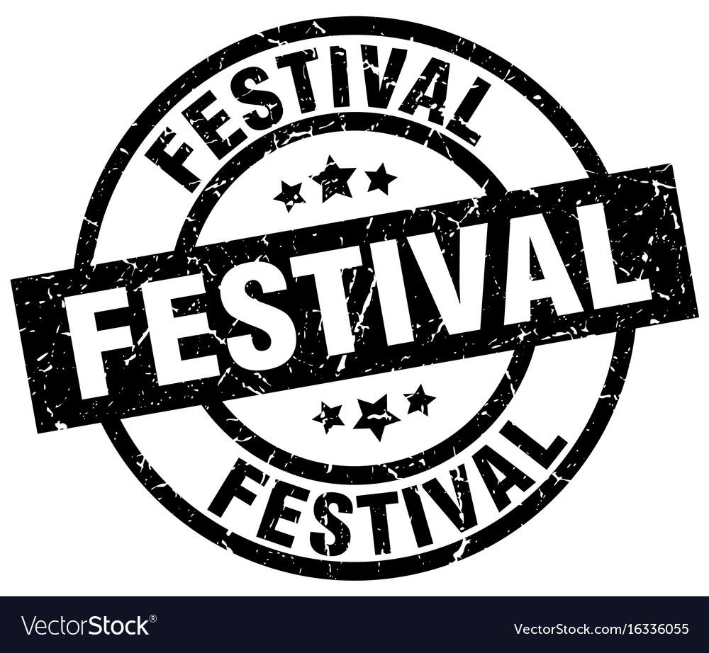 Festival round grunge black stamp