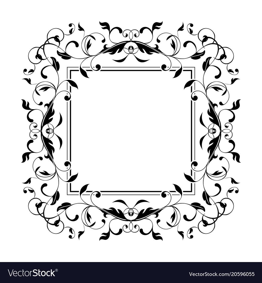 Floral decorative frame black bold ornament Vector Image