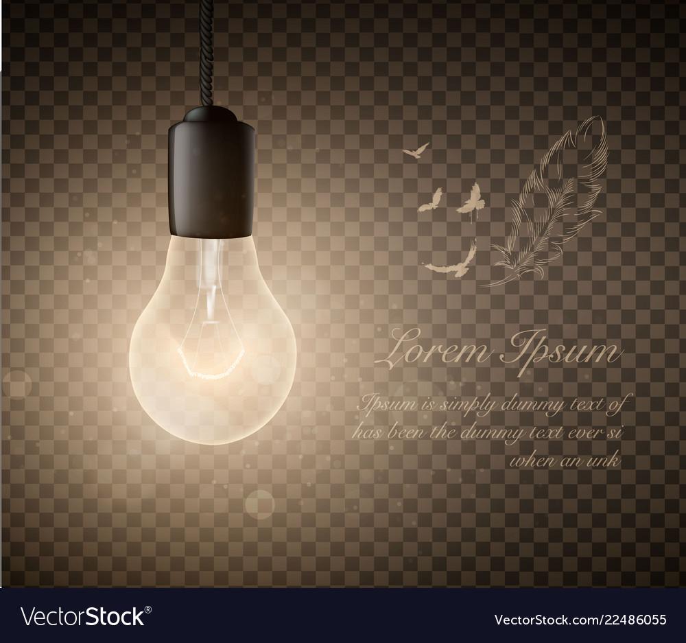 Glowing light bulbs set hanging lights on a
