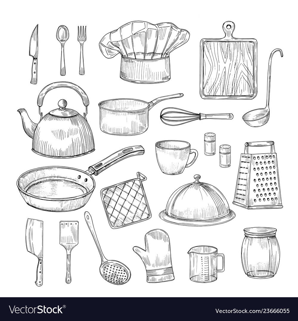 Hand Drawn Cooking Tools Kitchen Equipment