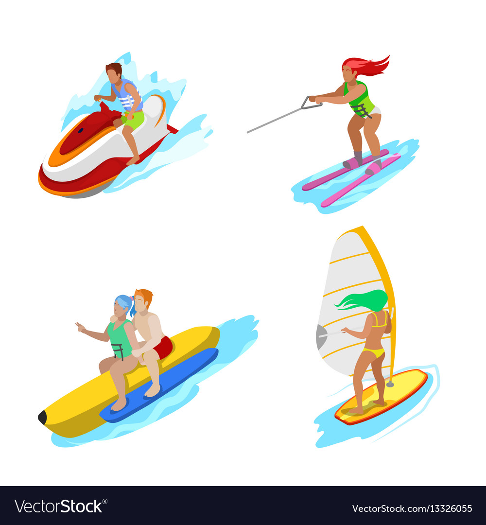 Isometric people on water activity woman surfer