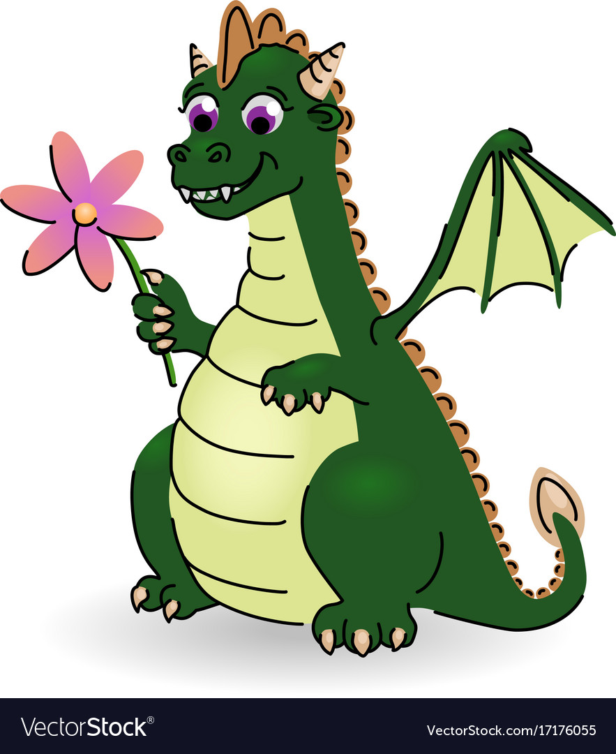 Little dragon with flower